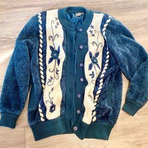 Vintage 90s Oversized Cardigan Coat Chenille XL